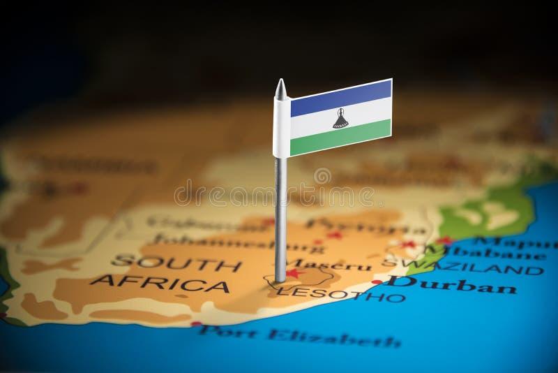 Le Lesotho a identifié par un drapeau sur la carte images libres de droits