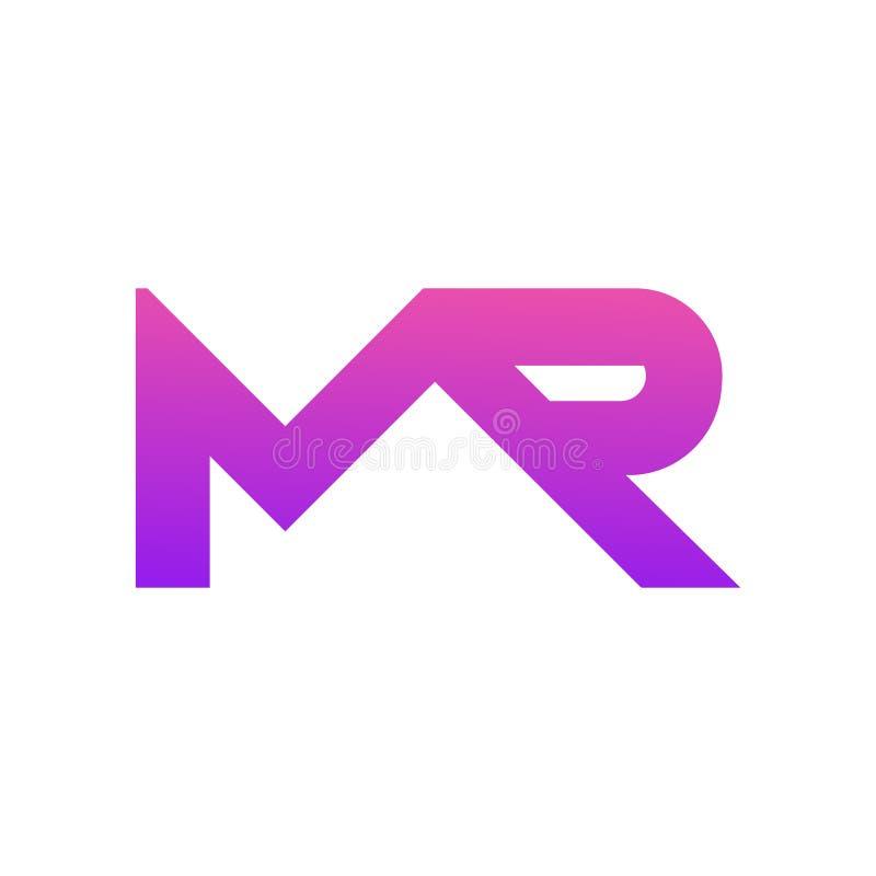 Le lettere combinate m. e R del modello di logo illustrazione vettoriale