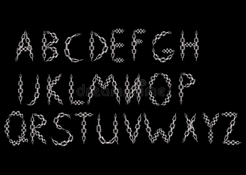 le lettere dell'alfabeto hanno fatto dalla catena del metallo illustrazione di stock
