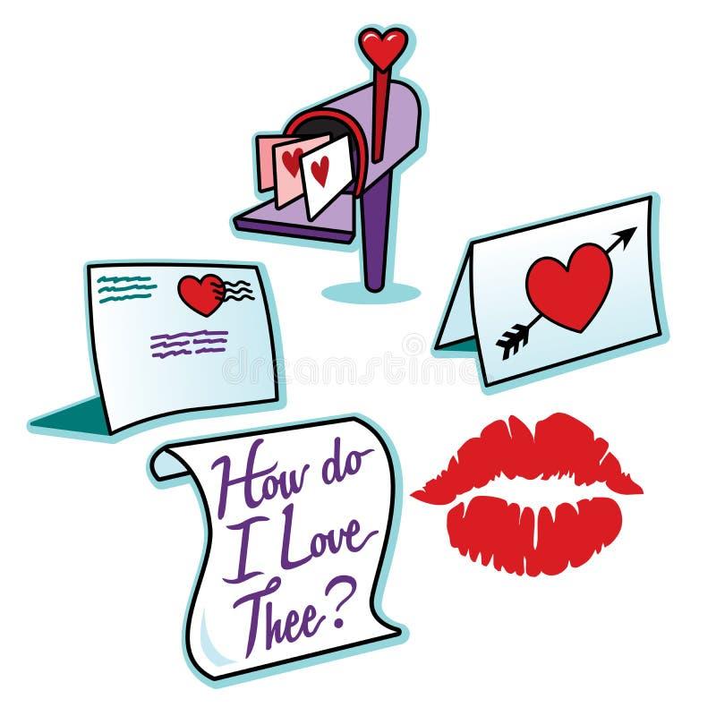 Le lettere di amore del giorno di biglietti di S. Valentino ed il rossetto rosso baciano il segno illustrazione di stock