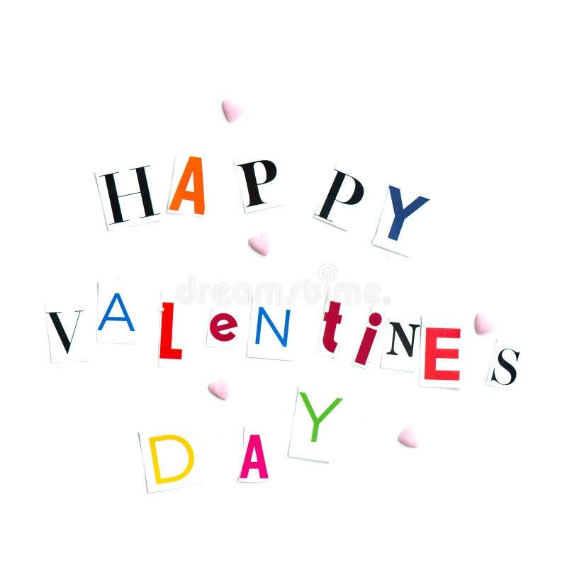 Le lettere di giorno felici dei biglietti di S. Valentino hanno tagliato dalle riviste fotografie stock libere da diritti