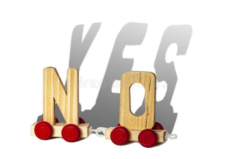 Le lettere di legno rende NESSUN e l'ombra è SÌ fotografia stock libera da diritti