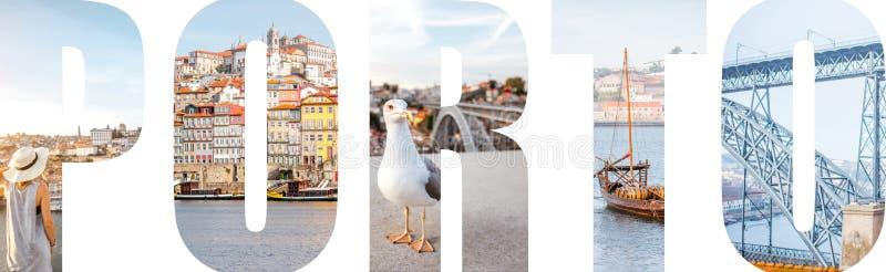 Le lettere di Oporto hanno riempito di immagini dalla città di Oporto immagine stock libera da diritti