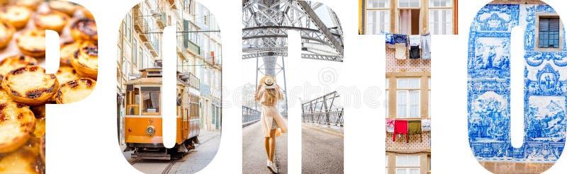 Le lettere di Oporto hanno riempito di immagini dalla città di Oporto fotografie stock libere da diritti