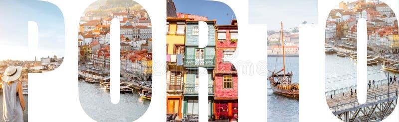 Le lettere di Oporto hanno riempito di immagini dalla città di Oporto fotografia stock