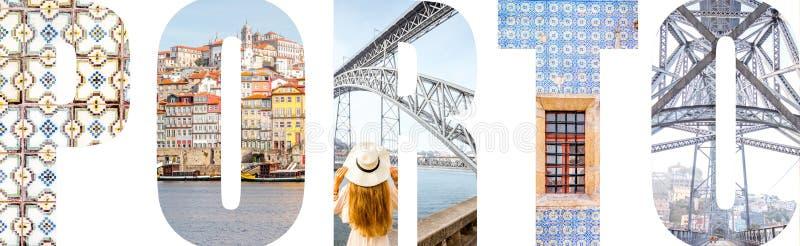 Le lettere di Oporto hanno riempito di immagini dalla città di Oporto immagini stock libere da diritti