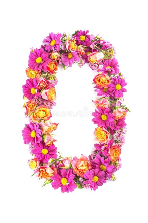 Le lettere ed i numeri fatti dai fiori in tensione isolati su fondo bianco, fanno il testo con l'alfabeto dei fiori, idea esclusi immagini stock libere da diritti