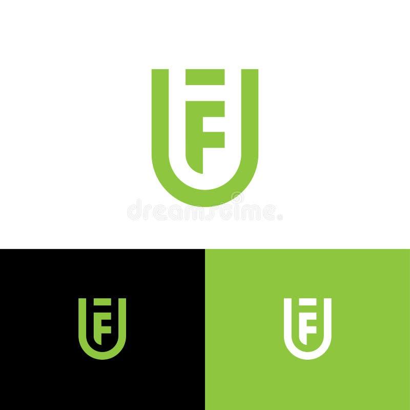 Le lettere F ed U come schermo F, monogramma di U delle linee spesse Web, icona dell'interfaccia utente illustrazione di stock