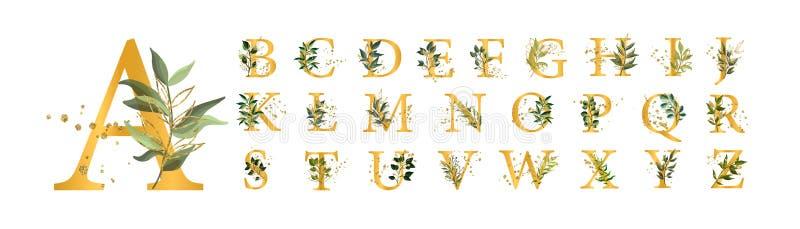 Le lettere maiuscole della fonte floreale dorata dell'alfabeto con l'oro delle foglie dei fiori schizza royalty illustrazione gratis