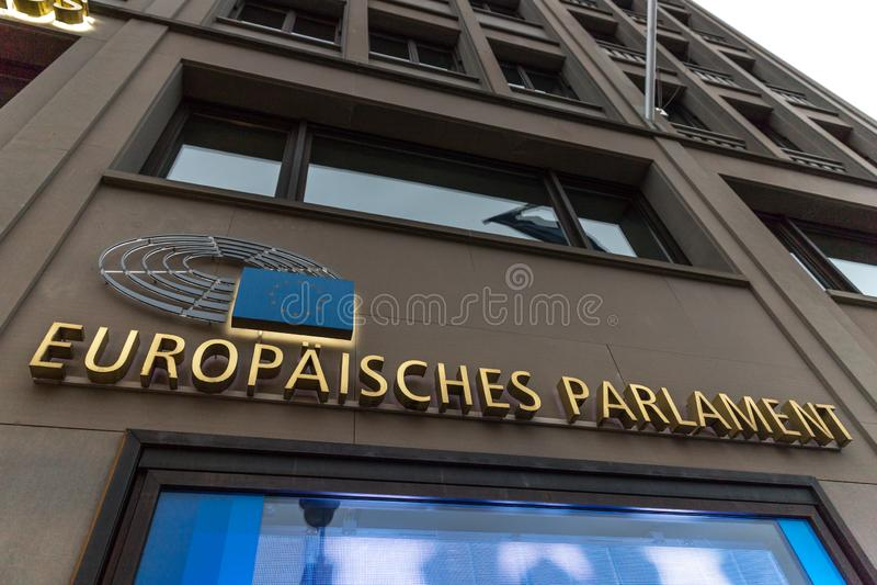 Le lettere tedesche del Parlamento Europeo firmano a Berlino Germania fotografie stock libere da diritti