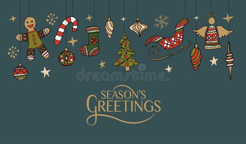 Le lettrage avec Noël tiré par la main objecte pour Noël/nouveau YE illustration libre de droits