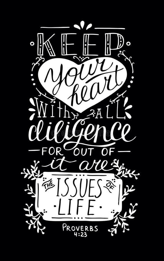 Le lettrage biblique gardent votre coeur illustration libre de droits