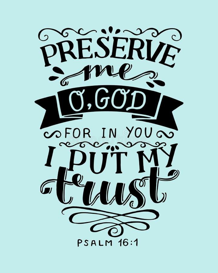 Le lettrage de main avec le vers de bible me préservent Dieu d'o, parce que dans vous je mets mon psaume de confiance illustration de vecteur
