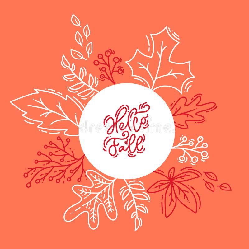 Le lettrage rouge de calligraphie textotent bonjour l'automne sur le fond blanc et orange Le rond laisse la guirlande de cadre de illustration libre de droits