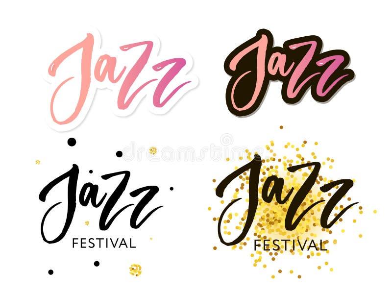 Le lettrage tiré par la main cite au sujet des collections de festival de jazz d'isolement sur le fond blanc Vecteur d'encre de b illustration de vecteur