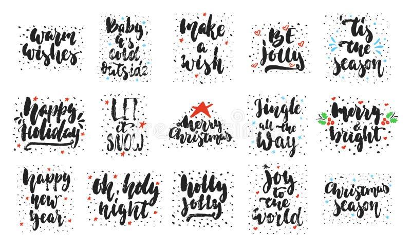 Le lettrage tiré par la main cite au sujet des collections de Noël d'isolement sur le fond blanc Vecteur d'encre de brosse d'amus illustration de vecteur