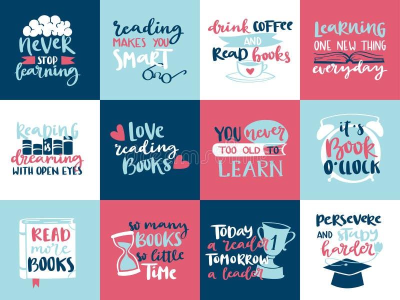Le lettrage tiré par la main de motivation de lecture d'amour de concept d'imagination cite la conception de calibre d'illustrati illustration libre de droits