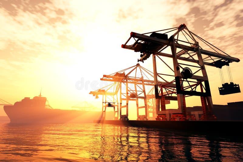 Le lever de soleil industriel 3D de coucher du soleil de port rendent 2 illustration libre de droits