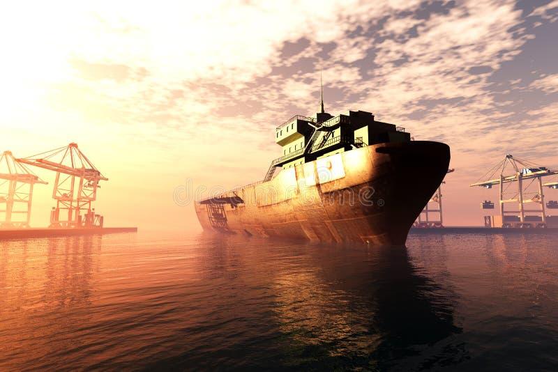 Le lever de soleil industriel 3D de coucher du soleil de port rendent 3 illustration de vecteur