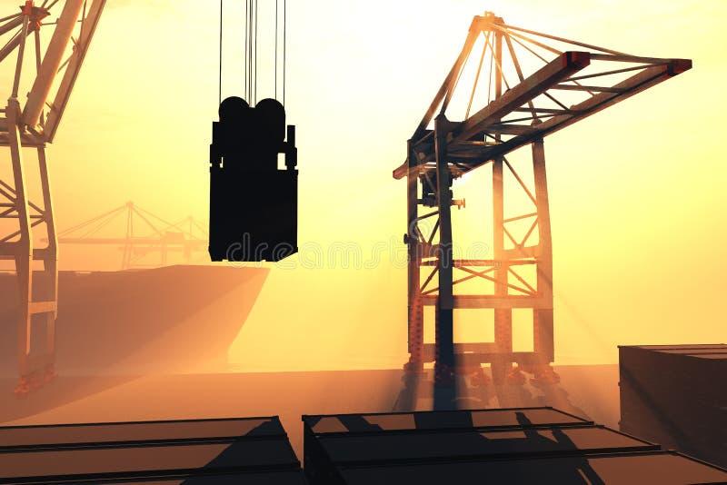 Le lever de soleil industriel 3D de coucher du soleil de port rendent 5 illustration de vecteur