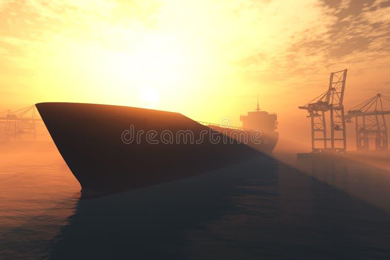 Le lever de soleil industriel 3D de coucher du soleil de port rendent 5 illustration stock