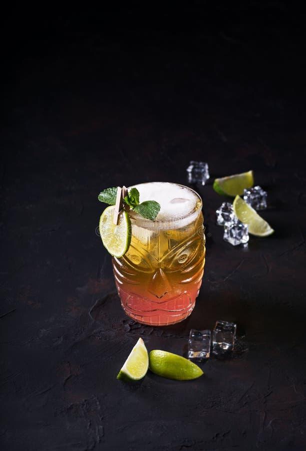 Le lever de soleil de tequila, cocktail a posé dans un rouge-jaune en verre, décoré des tranches de chaux Cocktail froid de boiss photographie stock libre de droits