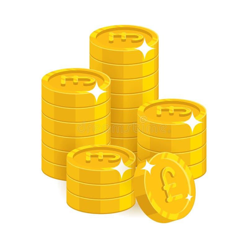 Le libbre dell'oro della pila hanno isolato il fumetto illustrazione di stock