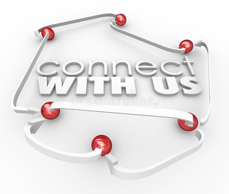 Le lien de boules de flèches de communiquer avec nous communiquent le contact Informatio illustration stock