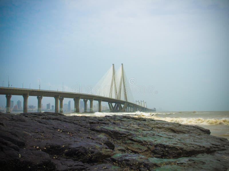 Le lien de mer de Bandra-Worli, officiellement appelé Rajiv Gandhi image stock