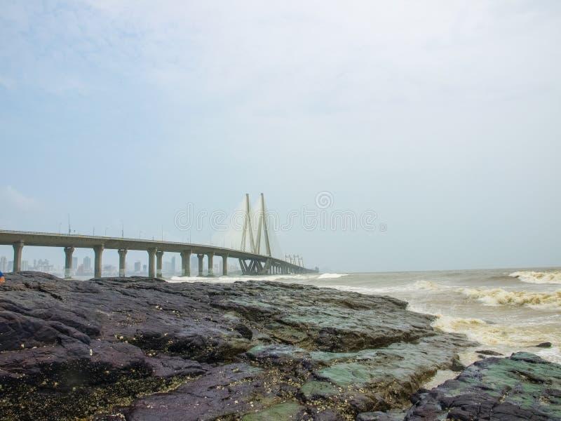 Le lien de mer de Bandra-Worli, officiellement appelé Rajiv Gandhi images stock