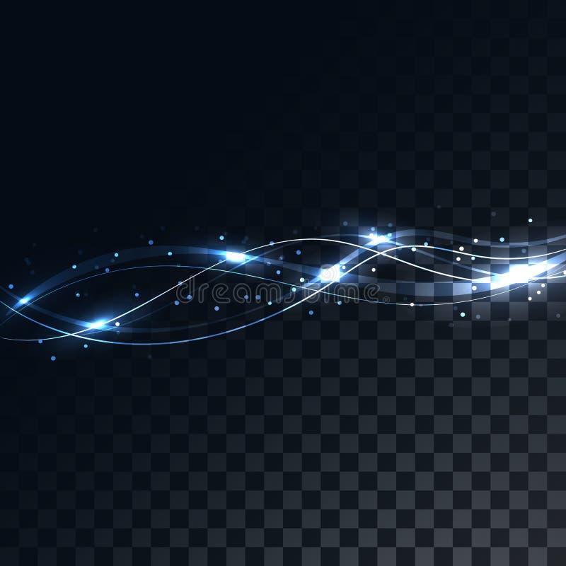 Le linee blu sottraggono le onde magiche elettriche magiche energetiche su un fondo grigio quadrato scuro traslucido dei quadrati illustrazione vettoriale