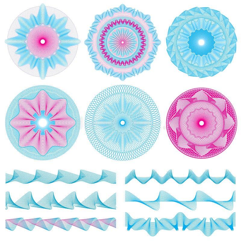 Le linee d'annata confini e banconota dell'incisione della rabescatura progettano il vettore decorativo degli elementi royalty illustrazione gratis