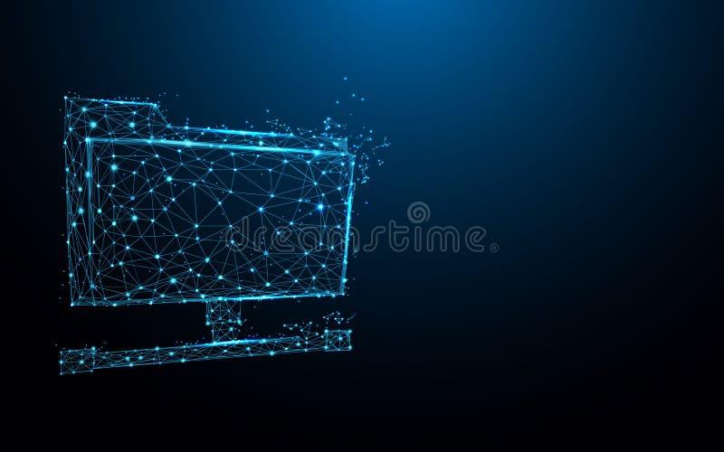 Le linee della forma della cartella condivisa, i triangoli e lo stile della particella progettano illustrazione di stock