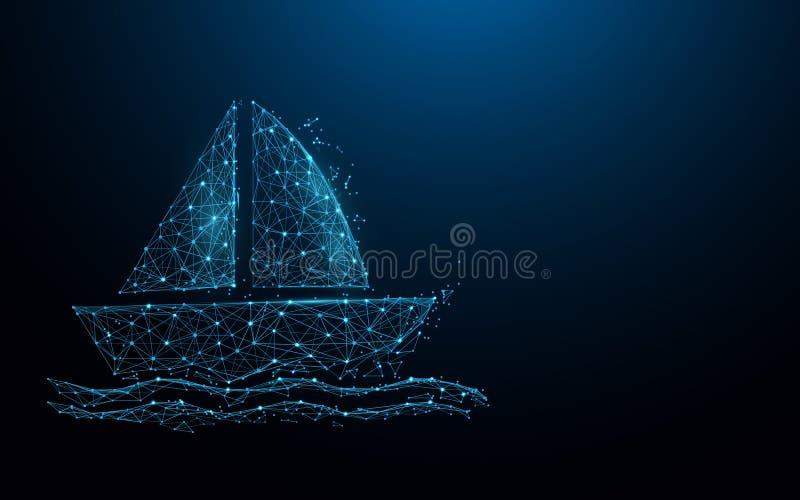 Le linee della forma dell'icona della barca, i triangoli e lo stile della particella progettano royalty illustrazione gratis