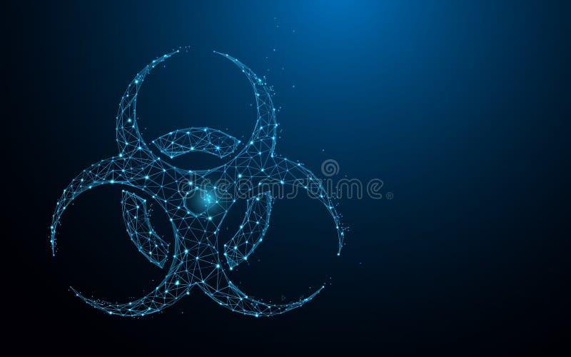 Le linee della forma dell'icona di rischio biologico, i triangoli e lo stile della particella progettano royalty illustrazione gratis