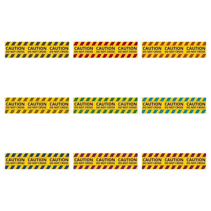 Le linee di cautela hanno isolato, nastri d'avvertimento, icona del segno del pericolo o logo, insieme di colore royalty illustrazione gratis