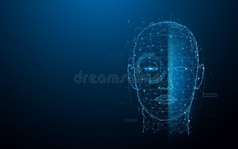Le linee digitali della forma di esame del fronte della tecnologia biometrica, i triangoli e lo stile della particella progettano illustrazione vettoriale