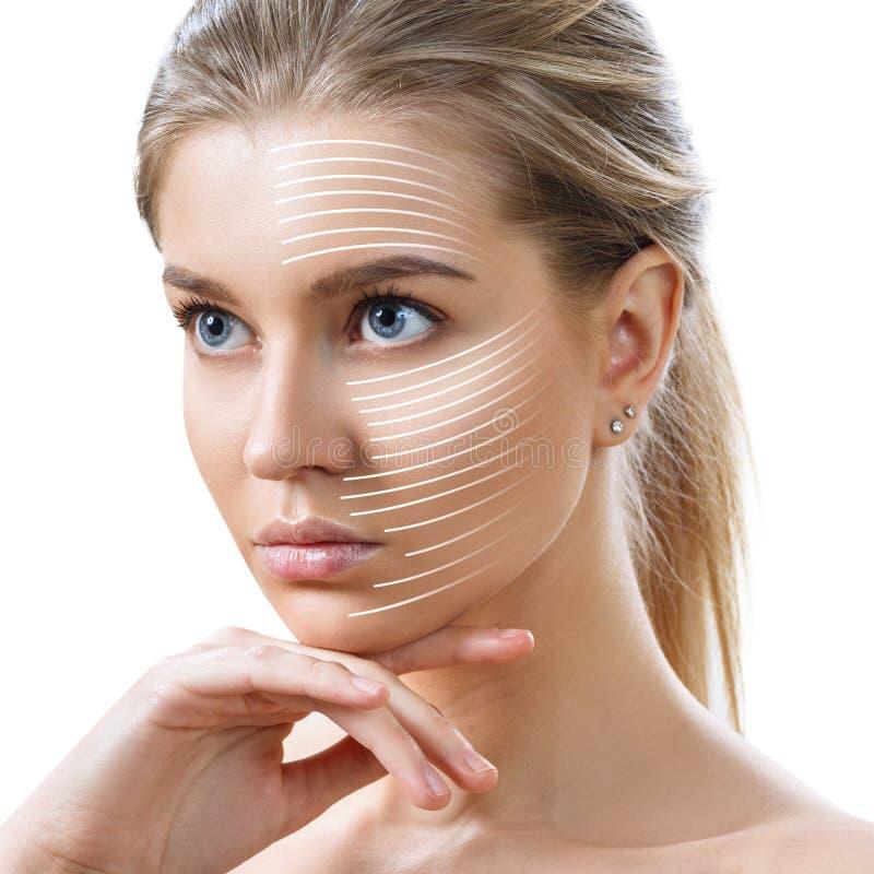 Le linee grafiche mostra l'effetto di sollevamento facciale su pelle fotografia stock