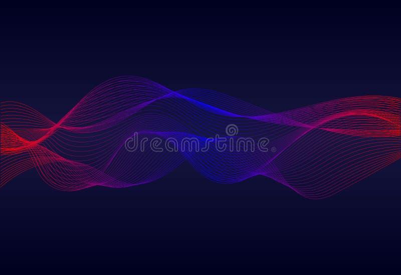 Le linee ondulate astratte sorgono su fondo blu scuro Soundwave delle linee Equalizzatore digitale moderno di frequenza sul backg royalty illustrazione gratis