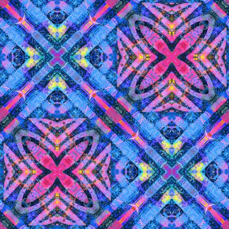 Le linee piastrellate colori vibranti ed il modello senza cuciture dei fiori progettano illustrazione di stock