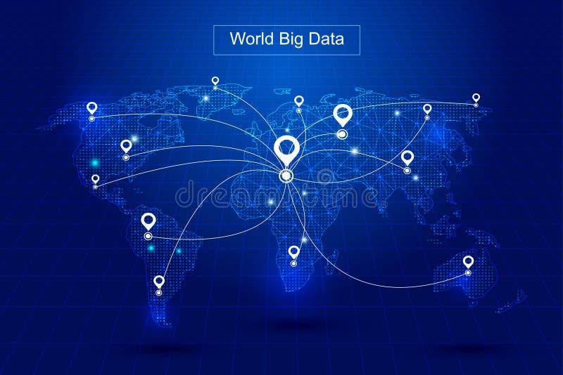 Le linee punteggiate costituiscono la mappa di mondo, posizionamento di GPS costituiscono precedenti di vettore della tecnologia  illustrazione di stock
