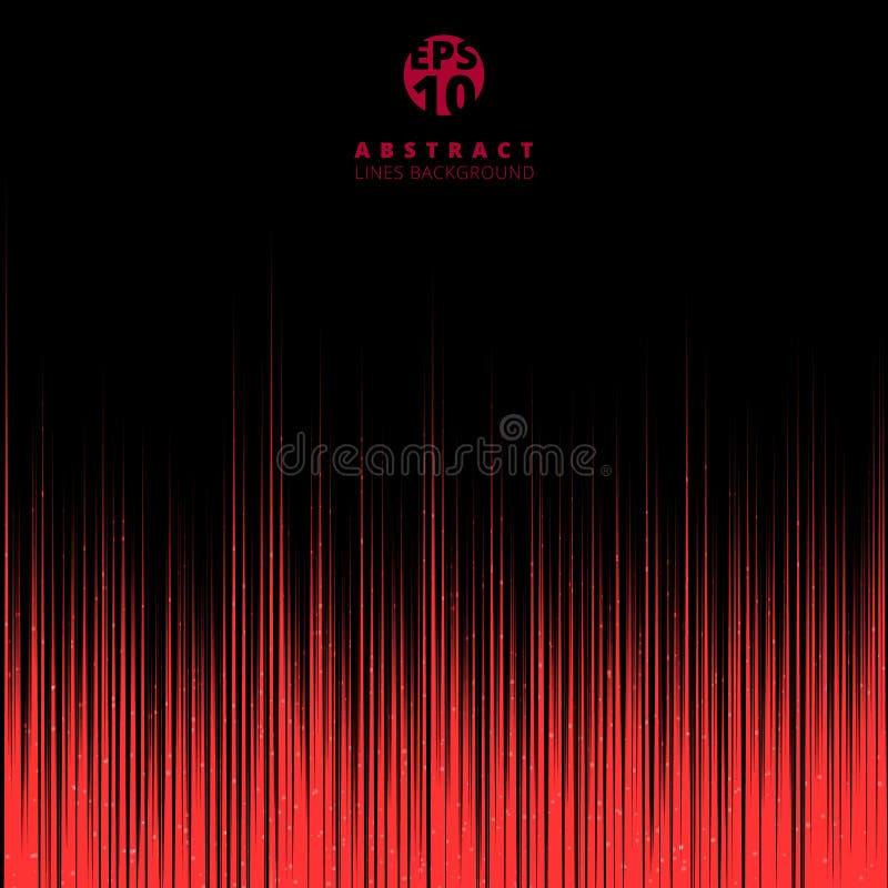 Le linee rosse astratte della tecnologia fanno segno a su fondo nero con il co illustrazione di stock