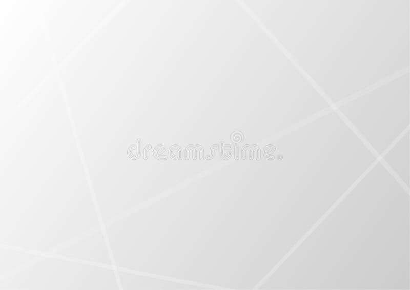 Le linee trasparenti bianche astratte si sovrappongono sul fondo grigio di pendenza con luce royalty illustrazione gratis