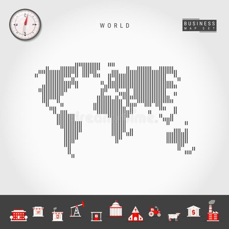 Le linee verticali di vettore modellano la mappa del mondo Siluetta a strisce del mondo Bussola realistica Icone di affari illustrazione vettoriale