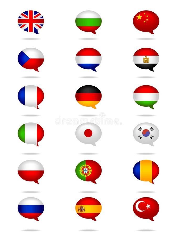 Le lingue inbandierano l'insieme illustrazione vettoriale