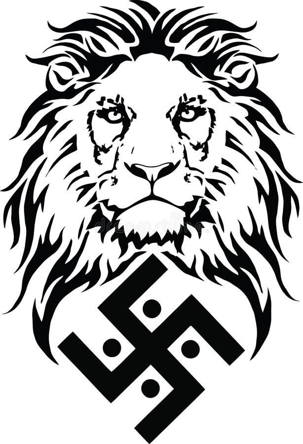 Le lion et le symbole de la religion indienne du ja?nisme - le svastika illustration libre de droits