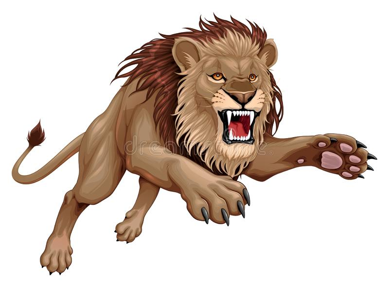 Le lion fâché saute illustration libre de droits