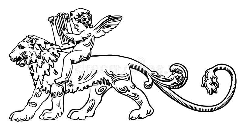 Le lion héraldique avec l'ange font la musique illustration de vecteur