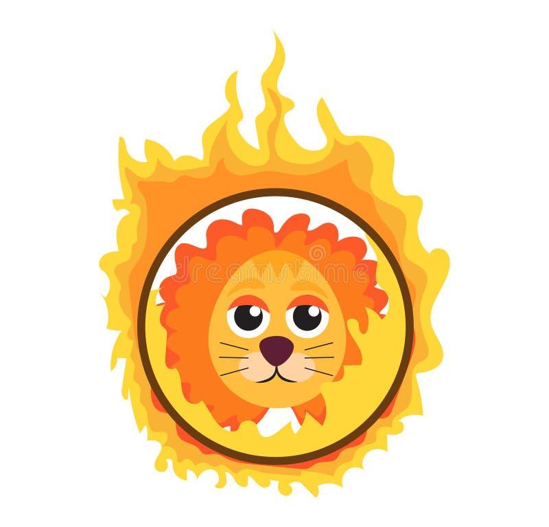 Le lion sautant par un cercle de feu dans le style plat d'icône de cirque, d'isolement sur le fond blanc Illustration de vecteur illustration stock