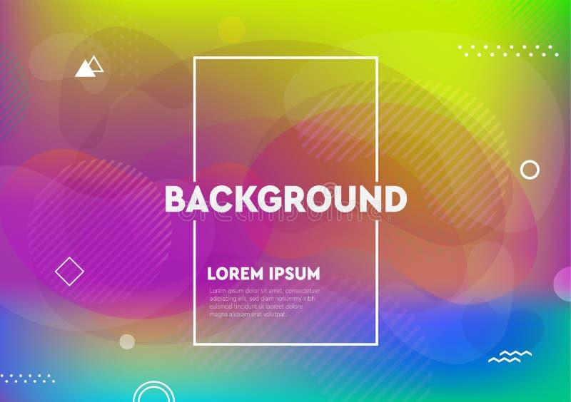 Le liquide abstrait coloré et l'affiche et la couverture liquides conçoivent Milieux géométriques minimaux de gradients de modèle illustration de vecteur